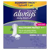 Always Multiform With Fresh Scent Pantyliners 60 Count