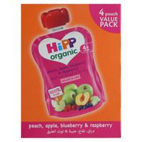 Hipp Organic Peach, Apple, Blueberry & Raspberry 90g x Pack of 4