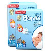 Sanita Bambi Baby Diapers Mega Pack Size 3 Medium 5-9 kg 92 Count x2